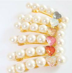 Charming Heart  Colorful Crystal Pearl Hairbands