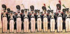 Duchy of Warsaw infantry in sommer  uniforms after the 1810. In the first row from left: Grenadiers and voltigeurs from regiments 1 to 5. In the second row from 6 to 10. Fig. Jozef Kosinski (from the collection of the Museum of the Polish Army in Warsaw).