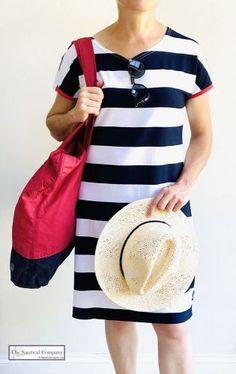 Striped Dress, White Dress, Blue Stripes, Navy Blue, Breton Shirt, Cycle Shop, Sailor Shirt, Nautical Fashion, Short Sleeves