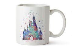 Cinderella's Castle Watercolor Coffee Mug, Kids Mug, Disney Mug