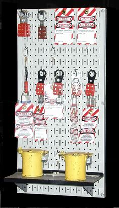 Wall Control tool board pegboards make great lock out tag out areas www.WallControl.com