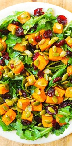 Perfect Thanksgiving Salad: Arugula Salad with Roasted Butternut Squash and Cranberries. #BHG #sponsored