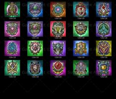 RPG Emblem Set - Contain variety of colorful guild emblems, great for game guilds, alliance emblem and house sigils, rename them to match emblems in your own game!