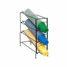 "Wire Cup Holder Organizer (3 Section) by Dispense Rite. $109.75. Capacity: 6 oz - 44 oz cup sizes.. Dimensions: 7 3/4""W x 19 1/4""H x 20""D.. Dispenses rim diameters from 2 5/8"" to 4 5/8"".. Black wire frame has reinforced welded construction.. Works great for paper, plastic or foam cups.. WR-CT series cup towers dispense 6-ounce to 44-ounce paper, plastic or foam cups with rim diameters from 2 5/8-inches to 4 5/8-inches. Dispensing towers feature the simple and fast EZ-Twist ..."