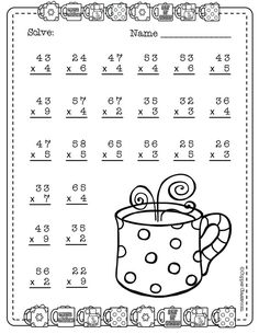 Need extra practice with multiplication? This set includes 10 pages of 2 digit by 1 digit multiplication with regrouping practice. An answer key for each page is included. Two Digit Multiplication, Math Multiplication Worksheets, 2nd Grade Math Worksheets, Printable Math Worksheets, School Worksheets, 4th Grade Math, Math Math, Math Games, Maths