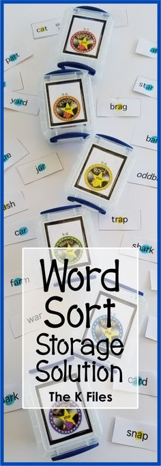 Tired of Word Sort pieces scattered across the floor and around your classroom?  Here is a simple storage solution for keeping the Words Their Way sorts organized for your Daily 5, spelling, and phonics program.  Great for kindergarten, first grade, second grade, third grade, fourth grade and fifth grade.  TheKausFiles.blogspot.com