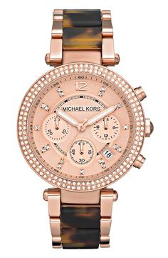 Want this Michael Kors watch! The rose gold and tortoiseshell pattern in amazing.