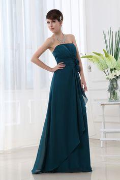 Cheap Strapless Tiered Chiffon Flowers Floor Length Empire Evening Dresses Under 100