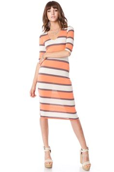 ShopSosie Style : Striped Weekend Dress in Peach
