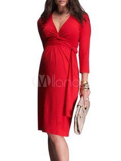 milanoo Tencel Spandex V-neck Three-quarter Sleeves Maternity Dress