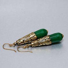 ABSINTHE  Green earrings with brass green jade Oriental