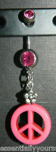 Pink Rhinestone & Belly Navel Ring NEW Silver Flower Bead Peace Sign