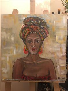 African woman oil painting portrait canvas