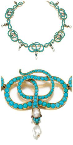 A Victorian era turquoise, ruby, and pearl snake necklace. Snake Necklace, Snake Jewelry, Animal Jewelry, Jewelry Art, Jewelry Design, Fashion Jewelry, Gothic Fashion, Fashion Fashion, Jewelry Ideas