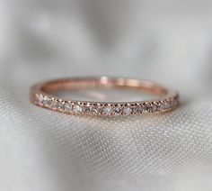 Thin Design Rose Gold Wedding Ring Pave SI H Diamond Engagement Matching Band Full Eternity