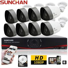 8 CH 1080P 2TB HD Outdoor Security Camera System Night Vision AHD DVR CCTV Kits #SUNCHAN