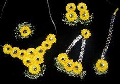 White and yellow haldi flower jewelry