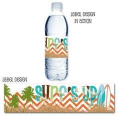 Retro Surf Water Bottle Label