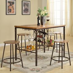 Wholesale Interiors Baxton Studio Vintner 5 Piece Pub Table Set