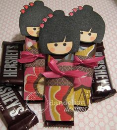 #Valentine's Day #chocolate favors: Fun-Sized #Kokeshi Dolls. This would be great to give but vary the hair color/style and make a few for gift giving