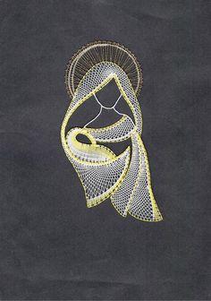Madona s ježíškem / Zboží prodejce Lenka Máslová Špetlová Embroidery Cards, Hand Embroidery, Embroidery Designs, Ceinture Paracord, Arte Linear, Bobbin Lacemaking, Lace Art, Bobbin Lace Patterns, String Art Patterns
