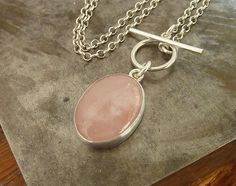 Rose Quartz necklace  sterling silver necklace  Handmade by anakim, $72.00