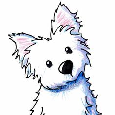 Westie West Highland Terrier Dog ACEO Matted Original Art Drawing