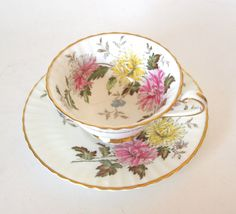 "Vintage Paragon Fine China Teacup and Saucer  ""Autumn Glory"" Pink Floral England Circa 1940's By Appointment to Her Majesty Queen Mary by HouseofLucien, $56.00"