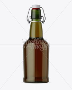 Green Glass Beugle Bottle w/ Beer Mockup - Front View
