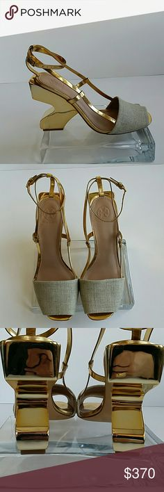 """Tory Burch sandals NWT Extravagant golden Tory Burch sandals. Size 9M. Heel high 4.25"""". Comes with dust bags and box. Tory Burch Shoes Sandals"""