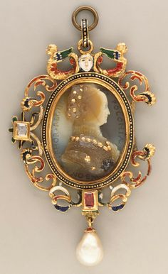Bona Sforza (1493-1557), Queen of Poland Cameo by Giovanni Jacopo Caraglio (Italian, Parma or Verona ca. 1500/1505–1565 Krakow (?)) Date: ca. 1530–40, and 19th century Culture: Poland (Cracow) and France Medium: Sardonyx, with gold and silver details; mounted in 19th century as a pendant in gold, with enamel, pearl and ruby