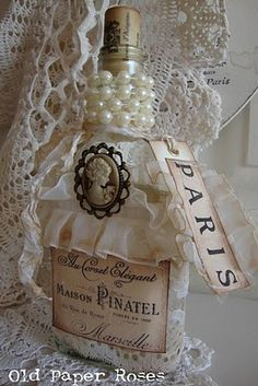 Romantic/Feminine decorated glass bottles