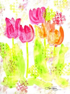 pretty tulips in watercolor #etsy #watercolor #art