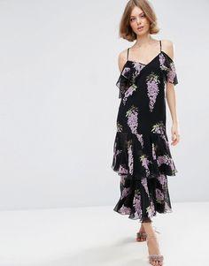 ASOS Premium Frill Maxi Dress in Wisteria Floral