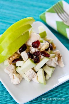 This delicious, and healthy, Chicken Apple Salad is the perfect lunch recipe! Made with diced chicken breast, apple, walnuts, dried cranberries or raisins, and a little bit of mayonnaise, this tasty meal is great served plain, on crackers, or in a sandwich.