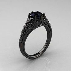 i want a black diamond ring - Goth Wedding Rings