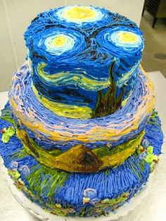 I have always love Vincent van Gogh's painting Starry, Starry Night, and this cake is just amazing!