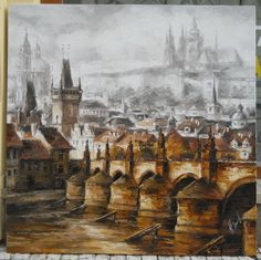 Karlův Most, olej, plátno, 100 - 100cm  The Charles Bridge, oil ,canvas, 100 - 100cm Charles Bridge, View Image, Prague, Worlds Largest, Past, Fine Art, Canvas, Artist, Painting