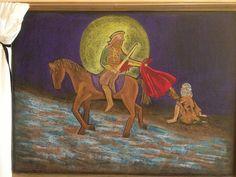 Saint Martin Blackboard Drawing, Chalkboard Drawings, Chalk Drawings, San Martin, Grade 2, Fairy Tales, Saints, Seasons, History
