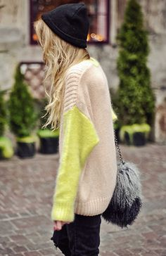 Neutral & neon knits.