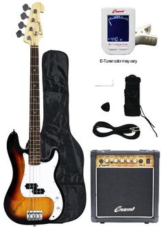 Crescent Electric Bass Guitar Starter Kit  Sunburst Color Includes Amp  CrescentTM Digital ETuner ** You can get more details by clicking on the image.Note:It is affiliate link to Amazon.