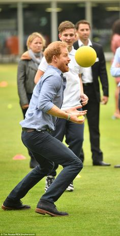 Things start to get tricky for Prince Harry during a catching drill at Lord's