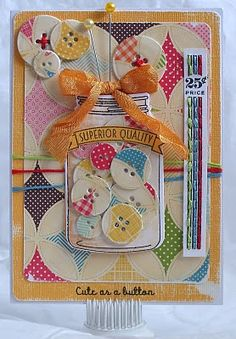 'Cute as a button' card. ⊱✿-✿⊰ Follow the Cards board. Visit GrannyEnchanted.Com for thousands of digital scrapbook freebies. ⊱✿-✿⊰