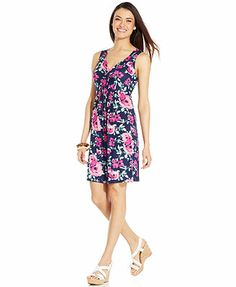 Style&co. Sleeveless Floral-Print Twist-Front Dress