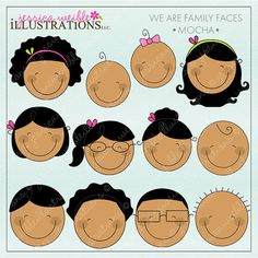 we are family faces -blonde- cute digital clipart for invitations