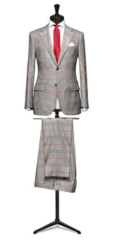 Grey suit Glencheck off white windowpane red http://www.tailormadelondon.com/shop/tailored-suit-fabric-4304-check-grey/
