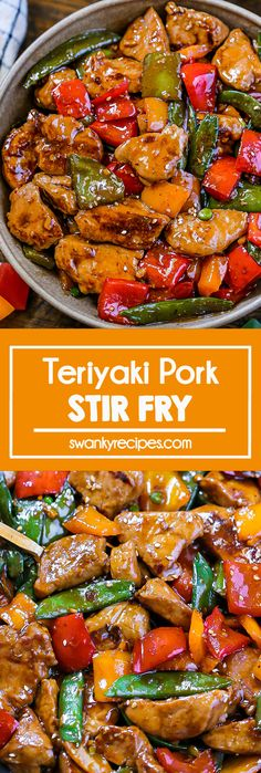 Teriyaki Pork Stir Fry - The BEST Asian stir fry with pieces of tender pork, bell peppers, and snow peas in a tasty teriyaki sauce. Quick and easy 27-minute recipe featuring pork tenderloin in a thick honey, garlic, soy sauce. If you're considering Chinese takeout for dinner, skip it and make a quick Asian stir fry at home paired with an outrageously delicious teriyaki sauce. #WisconsinPork #USApork ad Easy Homemade Recipes, Dinner Recipes Easy Quick, Easy Weeknight Meals, Easy Dinners, Quick Meals, Recipes Using Pork Chops, Pork Recipes, Lunch Recipes, Asian Recipes