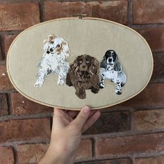 Three spaniels personalised embroidery framed in a large oval embroidery hoop Embroidered Gifts, Spaniels, Pet Portraits, Hoop, Embroidery, Pets, Trending Outfits, Unique Jewelry, Handmade Gifts