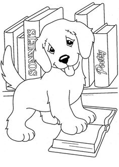 Dog coloring page - Lisa Frank coloring pages Puppy Coloring Pages, Coloring Book Pages, Printable Coloring Pages, Coloring Pages For Kids, Kids Coloring Sheets, Simple Coloring Pages, Lisa Frank, Barn, Painting
