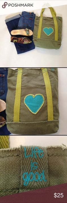 """☀️Life is Good army green and blue canvas boho bag This happenin' bag measures 15"""" x 13"""" with a 8"""" handle drop.  One outside and one inside pocket. Neither zip.  Check.out the rest of my closet. Suggested User with high ratings! Life is Good Bags Totes"""